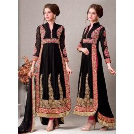 Black Draped Style High and Low Embroidered Anarkali