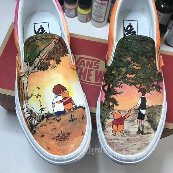 9f26a11d3c1550 Custom Painted Winnie The Pooh inspired Vans shoes sneakers All ...