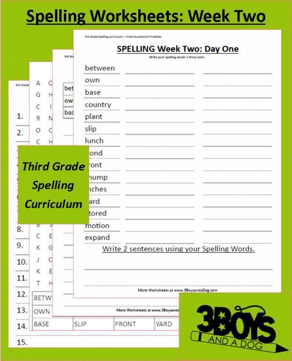 Third Grade Spelling Curriculum: Week Two | All Things ...