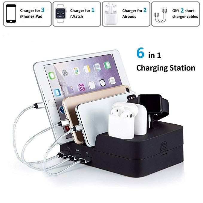 Marstree 6 Port Usb Charging Station Multi Device Usb Charging Dock Station Hub Desktop Charging St Usb Charging Station Phone Charging Station Desktop Charger