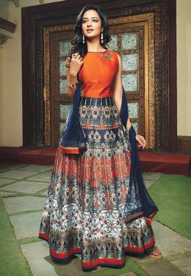 Buy Embroidered Art Silk Abaya Style Suit in Orange and Dark Blue online, work: Embroidered, color: Dark Blue / Orange, usage: Party, category: Salwar Kameez, fabric: Art Silk, price: $196.40, item code: KBZ133, gender: women, brand: Utsav