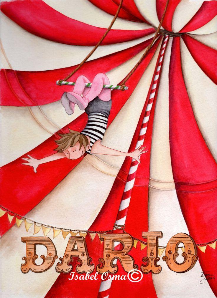 ilustración de Isabel Osma. Señoras y señorees...¡Darío el trapecista!