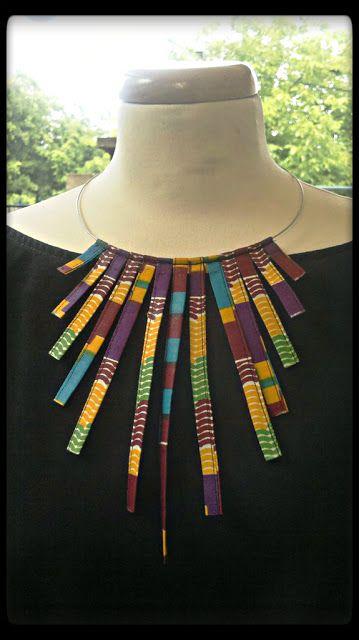 www.cewax.fr love this statement necklace ethno tendance, style ethnique, #Africanfashion, #ethnicjewelry - CéWax aussi fait des bijoux : http://www.alittlemarket.com/collier/fr_collier_plastron_multi_rang_ethnique_en_tissu_africain_beige_prune_jaune_-15921837.html - African Tailoring Design https://www.facebook.com/AfrikaiSzabosag