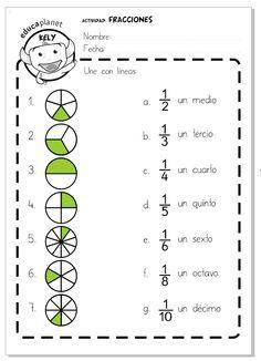 Ficha imprimible para repasar las primeras fracciones. Una actividad para relacionar cada dibujo con la representación escrita de la fracción.