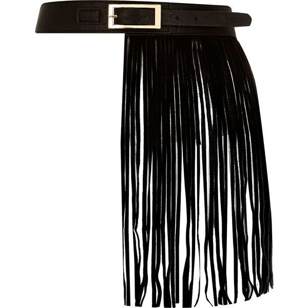 River Island Black leather fringed belt ($56) ❤ liked on Polyvore featuring accessories, belts, black, extras, skirts, women, black leather belt, 100 leather belt, genuine leather belt and real leather belts