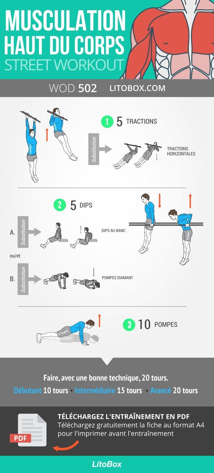Programme De Musculation Pour Le Haut Du Corps Pectoraux Dos Bras Ejercicios Musculacion Entrenamiento De Peso Corporal Rutinas De Entrenamiento