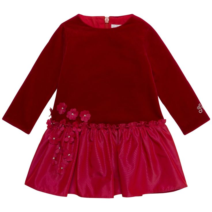 Red cotton velvet dress decorated with flowers #outfit #FW15 #fall #winter #kidsfashion #ceremony #red #dress #flowers