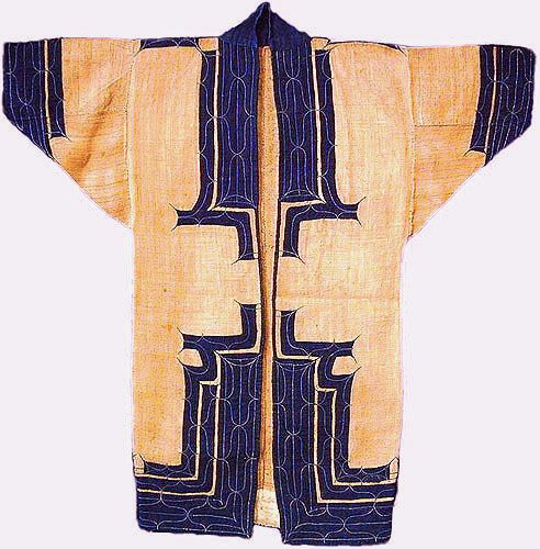 """Attush (coat), Ainu PeopleHokkaido, Japan, late 19th c. Elm bark with applique Japanese cotton and embroidery 117 x 117 cm (3' 10"""" x 3' 10"""") #17740 Attush garments are closely related to the Ainu's animistic belief that spiritual beings reside within all parts of nature.The elaborate rituals of the Ainu were meant to regulate the spirits, to please and cajole the beneficial spirits whilewarding off the evil demons. Designs are placed around all of the openings"""