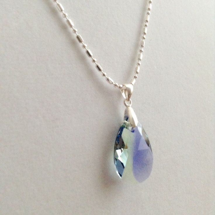 Awsome BlueGreen Swarovski Pendant and 925 Sterling Silver Italian Chain Necklace by BecauseIamHappy on Etsy