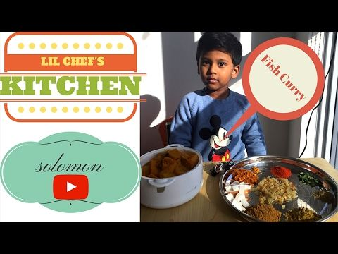 Toddler learning to cook- South Indian Fish Curry