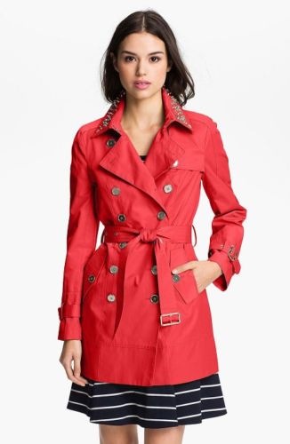Sam Edelman Hibiscus Studded-Collar Trench Coat Size Medium Reg $250 Sale $149.99. Gorgeous Hibiscus Red (a coral red) Sam Edelman trench coat. A collar encrusted with chunky studs and rhinestones adds a modern edge to this classic double-breasted trench detailed with gleaming metallic gold buttons and buckles.