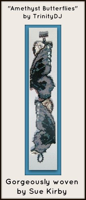 BP-BR-057 - Ametist Kelebekler - Tuğla Dikiş Beadwork Desen, tohum boncuk takı, beadweaving öğretici, boncuklu bilezik, bilezik desen