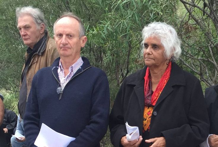 MEMORIAL: Mark Tedeschi AM QC with Tingha elder Sue Blacklock at the Myall Creek memorial site. Photo: Heidi Gibson
