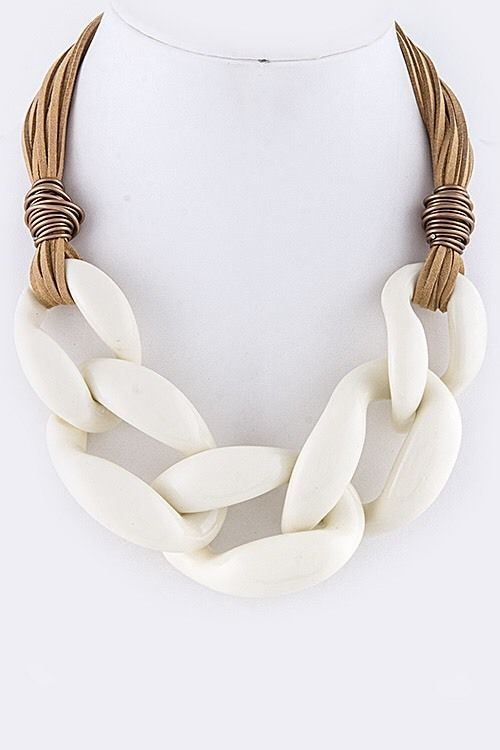 Large Chunky Acrylic White Chain Faux Suede Cord Necklace | eBay