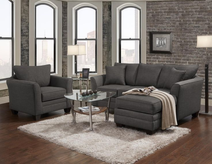 Transitional Sofa With Chaise End
