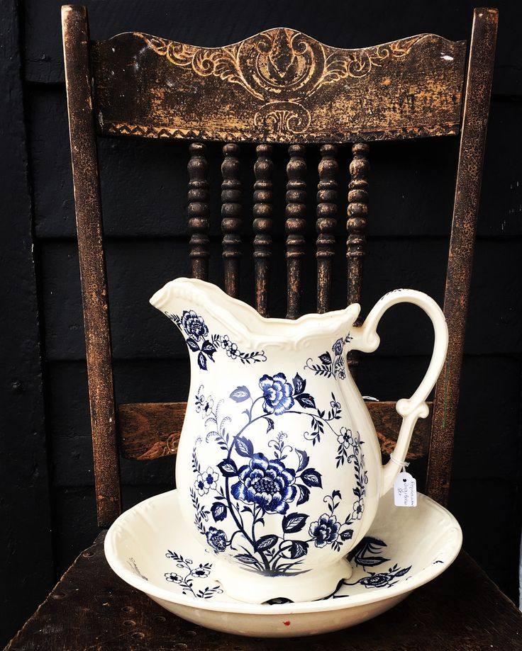 something old...something new Vintage chair & reproduction jug & basin set at Rust Emporium