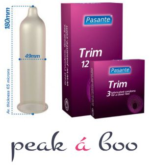 Pasante Trim Condoms 12 Pack Product Code: SSDPR1502S  Pasante Trim is a narrower condom designed for a closer fit. Nominal width 49mm Non spermicidally lubricated. Transparent, teat ended condoms, made from natural rubber latex.  http://peakaboo.co.uk/