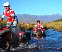 Quad Biking - Riding a quad bike or all-terrain vehicle (ATV) in the mountainous Drakensberg region of KwaZulu-Natal is a real adventure. Crossing streams, negotiating steep and somewhat daunting paths and generally roughing it offroad on these fabulous mini-4x4 vehicles. The trails are close to the small town of Bergville.