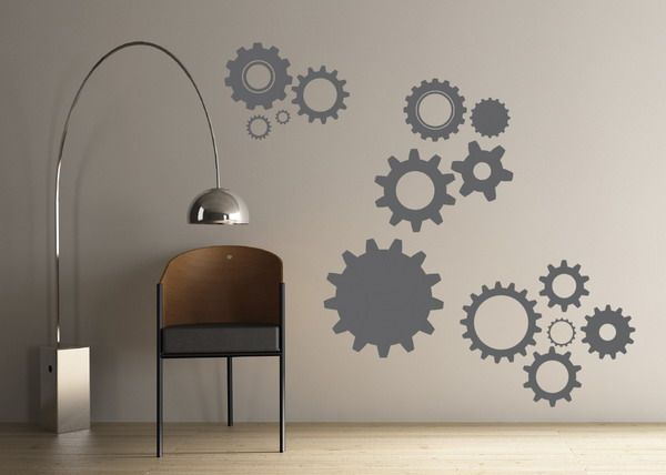 Gear Wall Art Decals Design for a boys construction/tool themed room?