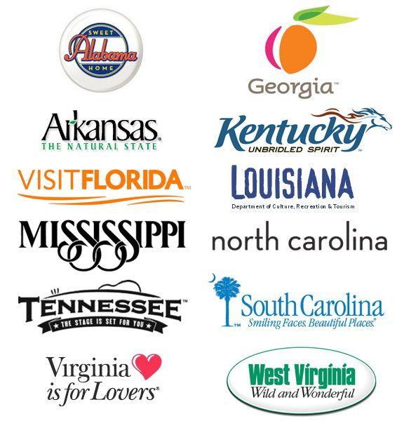Southeast tourism logos: States Tourism, States Gov, Tourism Logos, 50 States, Logos Design, Tourism Thrive, States Appeal, Southeast Tourism, U.S. States