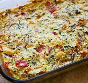 Zucchini Breakfast Casserole (I used 5 egg whites and 3 eggs, cottage cheese instead of ricotta)