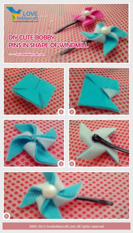 DIY cute bobby pins in shape of windmill