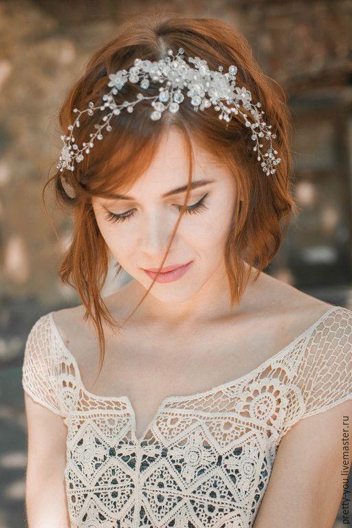 Купить Свадебный венок из жемчуга для волос. Венок на голову для невесты - белый, айвори, жемчуг, хрусталь