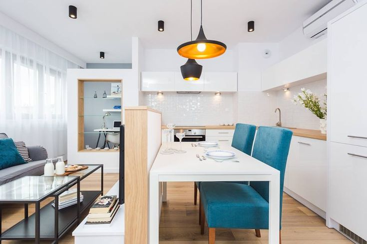Open kitchen with small dining place