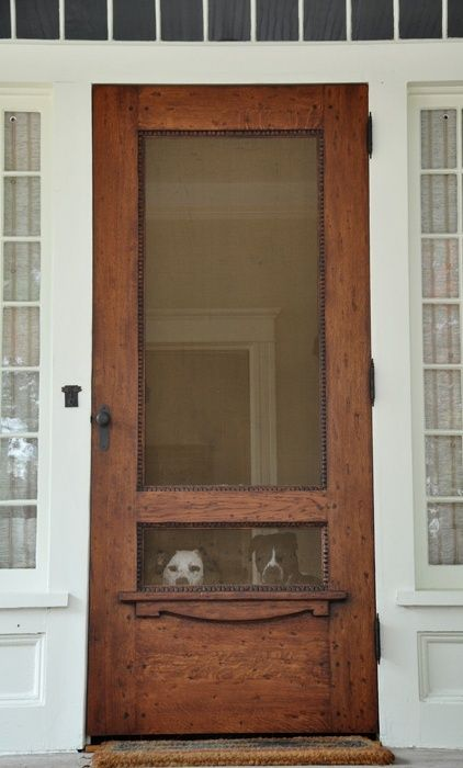 screen door - like the bottom part is not screen (can get pushed out by animals or small children)