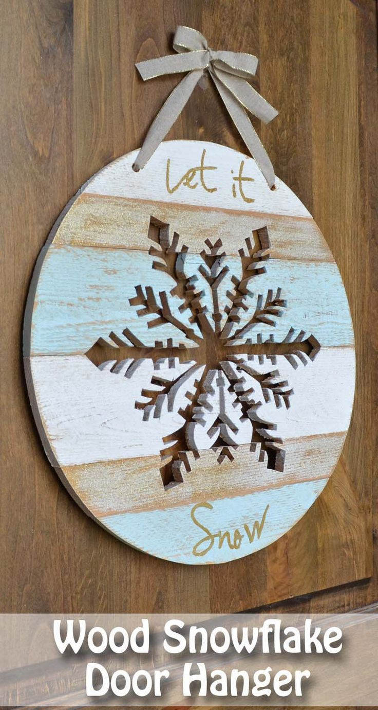 Wood snowflake door hanger tutorial