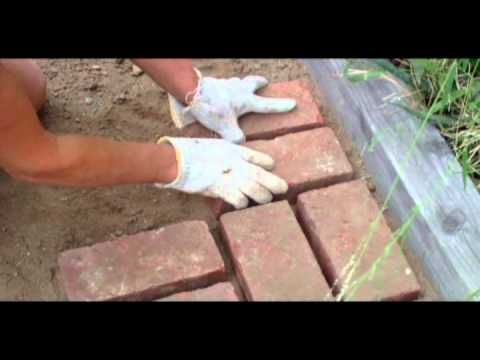 How to lay brick pathway and fill cracks with Quickrete - easy!