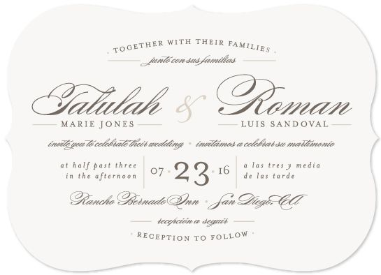 Wedding Invitation Wording English: Customizable Wedding Invitations In Gray