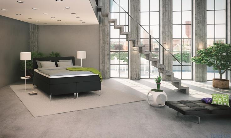 Moderni city-koti #makuuhuone #sänky #sisustus #loft #tempur