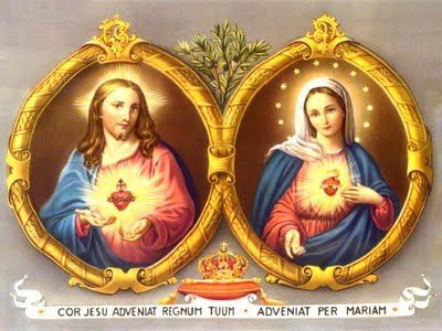 Sacro cuore di Gesù e di Maria / Hati kudus Yesus dan Maria. che il nostro cuore sia purificato, seguendo questi modelli di santità