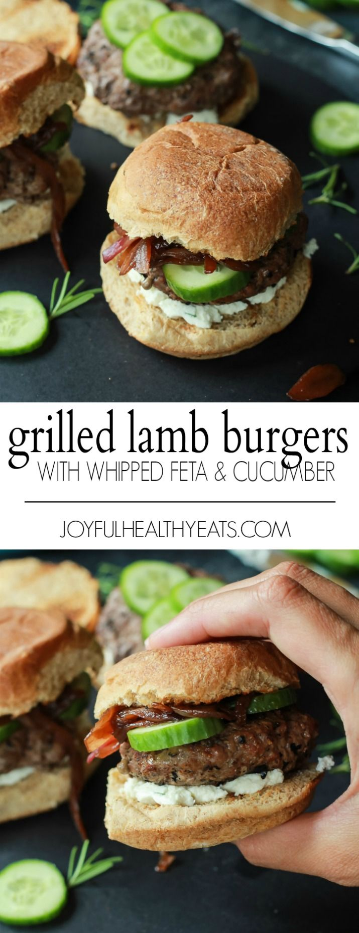 Grilled Lamb Burgers will be the star of all burger recipes this summer, topped with whipped feta cheese, cucumber, and balsamic caramelized onions. Filled with flavor and made in 30 minutes! | joyfulhealthyeats.com