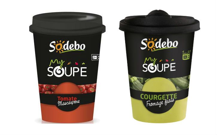 """This packaging serves to protect the product (primary packaging), it is functional. The originality of the product is in a modern and unpublished packaging inspired by codes of the """"take-away"""" with a lid specifically studied to facilitate the consumption. Besides, Sodebo is ecofriendly: the cardboard ring is dissociable of the plastic jar.It also plays on colours by mixing the black and the colour associated with the taste of the soup giving a uncluttered stylistic effect."""
