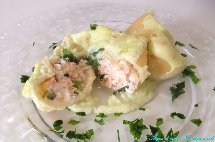 Conchiglioni salmone e asparagi