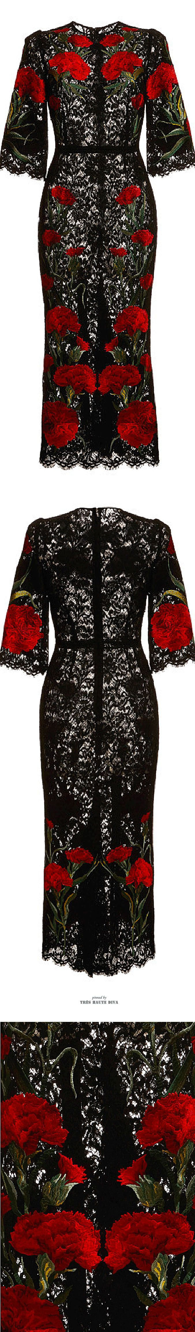 Dolce & Gabbana Carnation Embroidered Long Lace Dress SS 2015