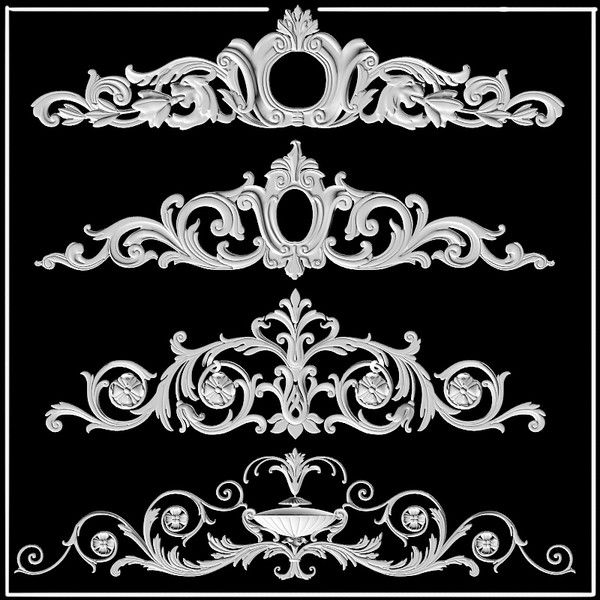building decor 3d model - cartouches plaster decor ornament decoration building pedi... by shop3ds