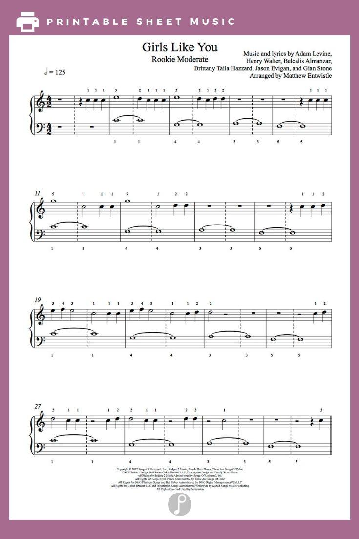 Girls Like You By Maroon 5 Feat Cardi B Piano Sheet Music