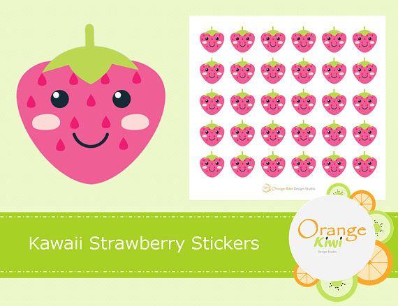 Kawaii Strawberry Stickers Strawberries Planner Stickers