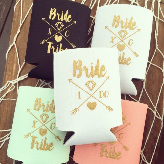 Bride Tribe Drink Cooler Boho Bachelorette Party Favors Metallic Gold Tribal Arrows Can Bottle Holder