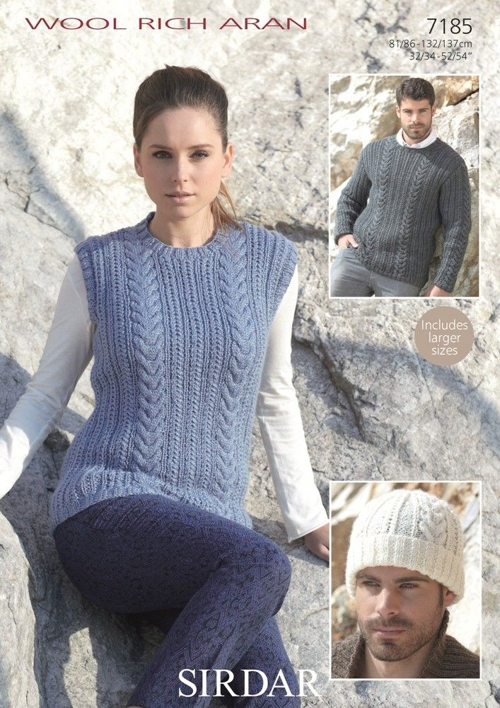 Womens and Mens Tank, Sweater and Hat knitted in Sirdar Wool Rich Aran