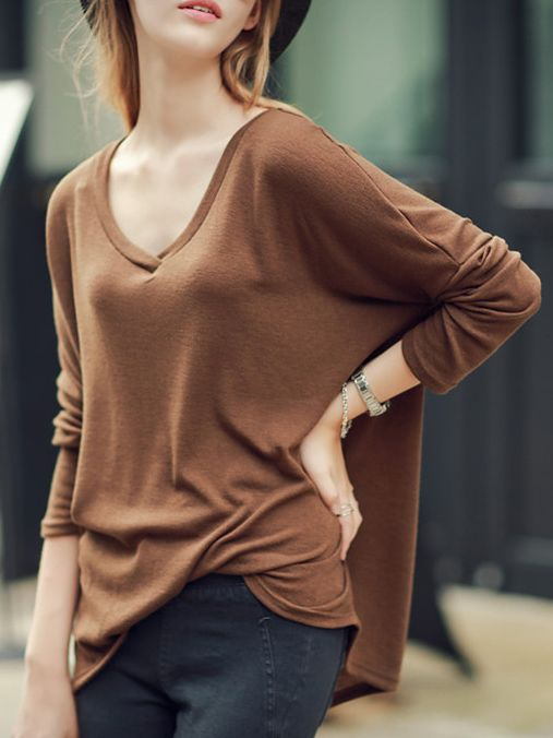 V Neck Loose Camel T-shirt 10.50