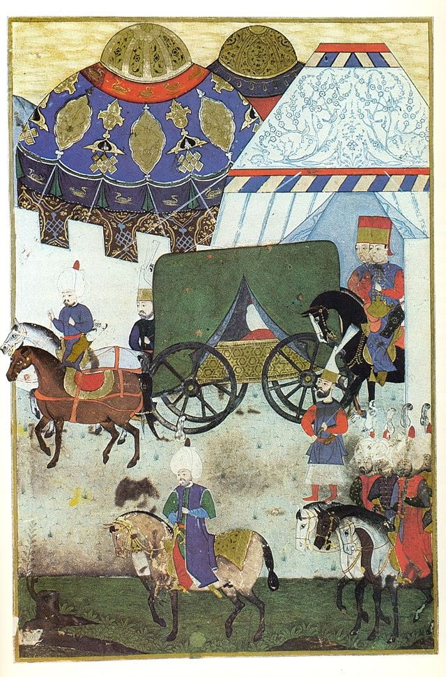 Return of the Turkish army from Szigetvár, feigning that Suleiman I is still alive