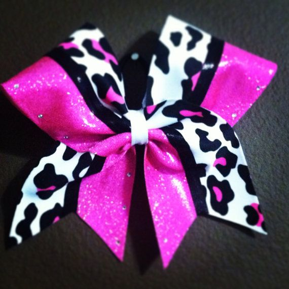 """Hot Pink, Black and White Leopard with Rhinestones- 3"""" Cheer Bow"""