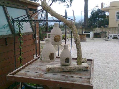 Plastic bottle bird feeders