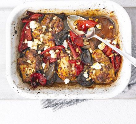 Roast up some chicken with North African spices and storecupboard peppers for a great last-minute supper