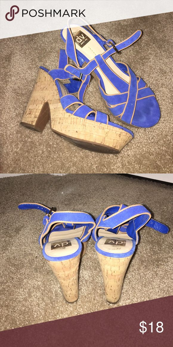 LIKE NEW royal blue wedges! LIKE NEW royal blue wedges with a little bit of sparkle and a cut out chunky heel. DV by Dolce Vita Shoes Wedges