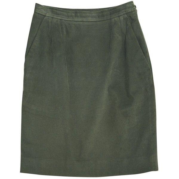 Pre-owned Yves Saint Laurent Velvet Mid-Length Skirt ($125) ❤ liked on Polyvore featuring skirts, khaki, long khaki skirt, mid length skirts, velvet skirt, yves saint laurent skirt and khaki maxi skirt
